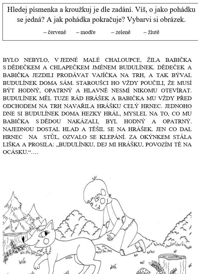 Pohádky - omalovánky, vyhledávání písmen dle zadání